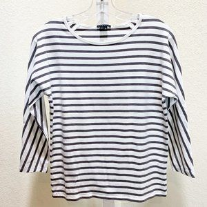 Theory Gray Striped Knit Tee   881